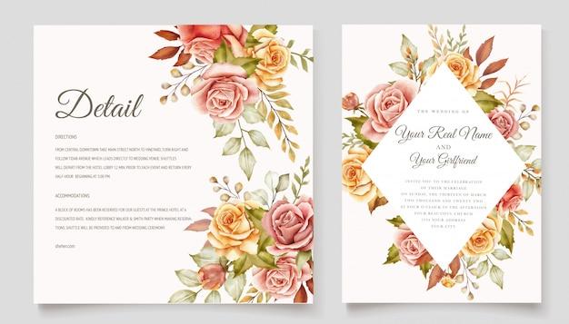 Conjunto de tarjeta de invitación de boda floral