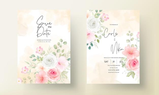 Conjunto de tarjeta de invitación de boda de flores y hojas románticas