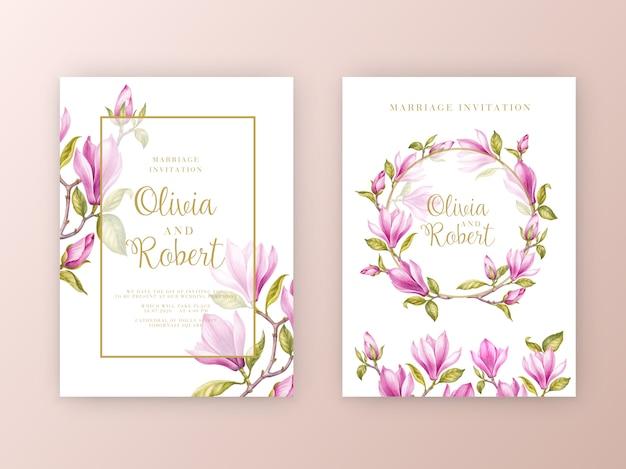 Conjunto de tarjeta de invitación de boda de flores de magnolia rosa