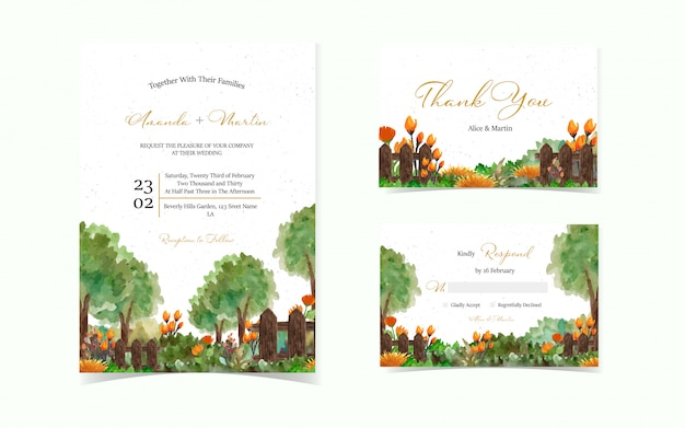 Conjunto de tarjeta de invitación de boda con fondo hermoso jardín