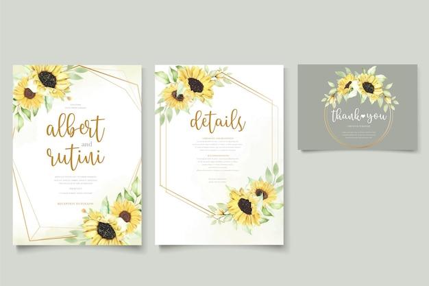Conjunto de tarjeta de invitación de boda de girasol acuarela