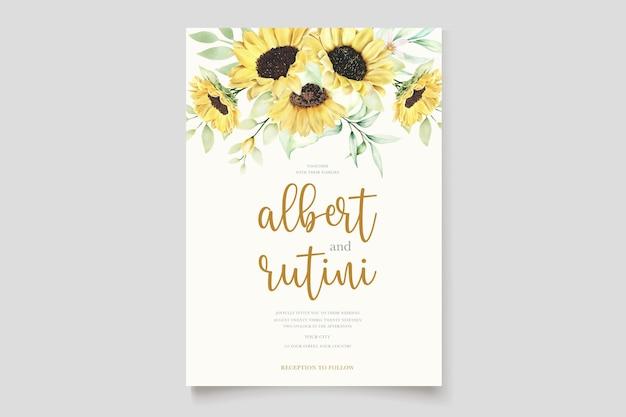 Conjunto de tarjeta de invitación de boda de girasoles acuarela