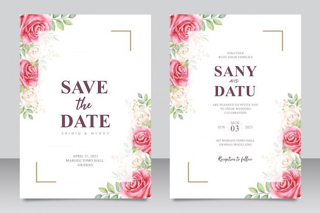 Conjunto de tarjeta de invitación de boda hermosa de rosas rojas y aquarel blanco