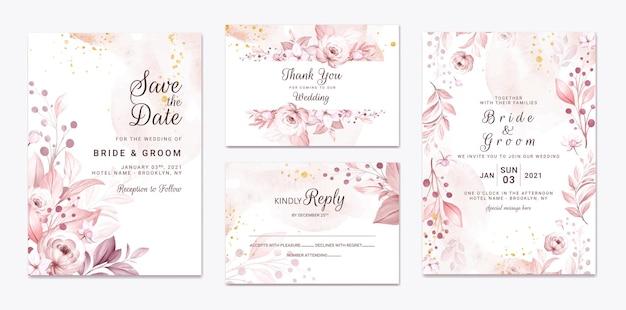 Conjunto de tarjeta de invitación de boda con hermosas flores y hojas cremosas suaves