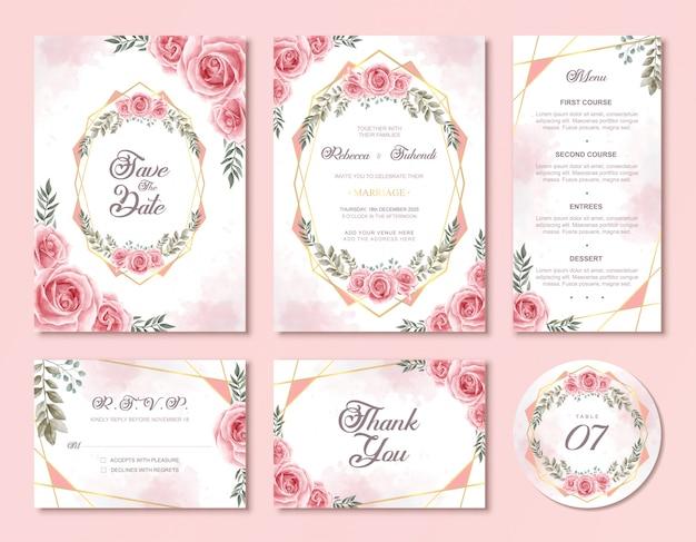 Conjunto de tarjeta de invitación de boda con hermosas flores rosas de acuarela rosa floral