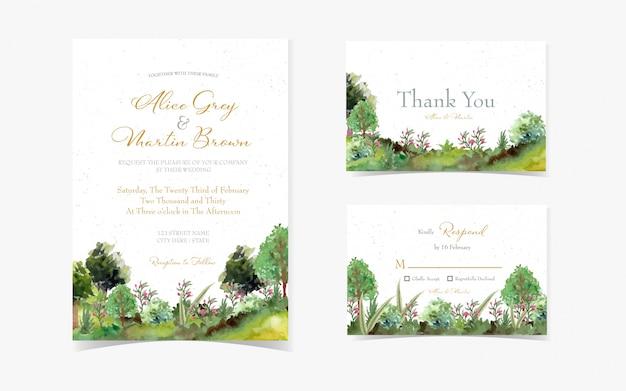 Conjunto de tarjeta de invitación de boda con hermoso jardín