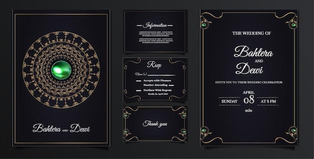Conjunto de tarjeta de invitación de boda de lujo de colección