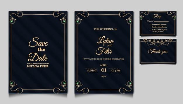 Conjunto de tarjeta de invitación de boda de lujo save the date