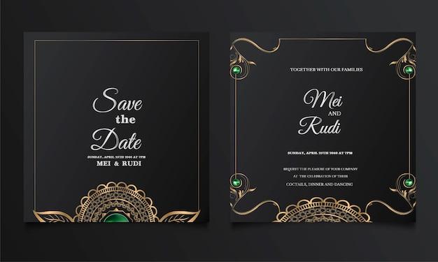 Conjunto de tarjeta de invitación de boda de lujo