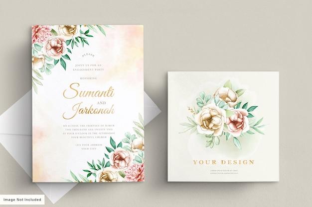 Conjunto de tarjeta de invitación de boda de peonías
