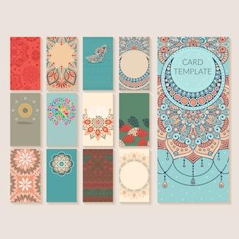 Conjunto de tarjeta de invitación de boda vintage con mandala