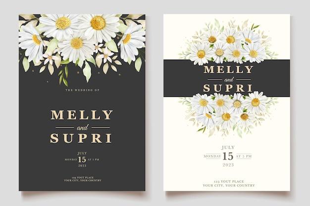 Conjunto de tarjeta de invitación de crisantemo acuarela
