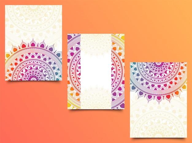 Conjunto de tarjeta de invitación con diseño brillante mandala.