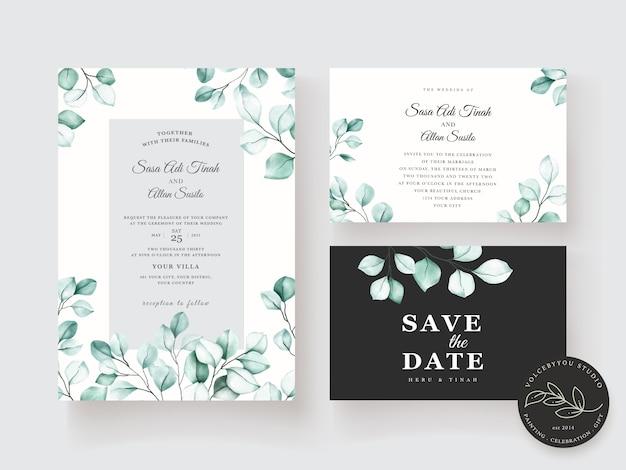 Conjunto de tarjeta de invitación de eucalipto acuarela