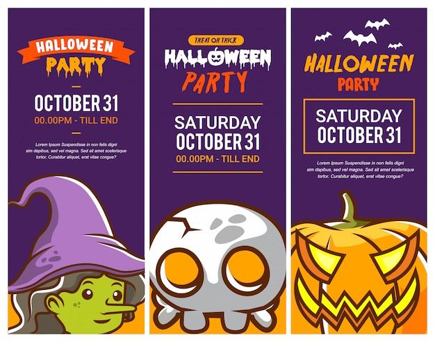 Conjunto de tarjeta de invitación de fiesta de halloween o folleto con linda ilustración de bruja, calavera y calabaza