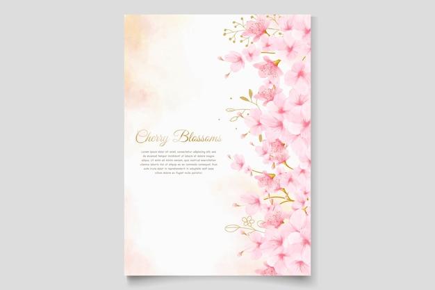Conjunto de tarjeta de invitación de flor de cerezo en acuarela