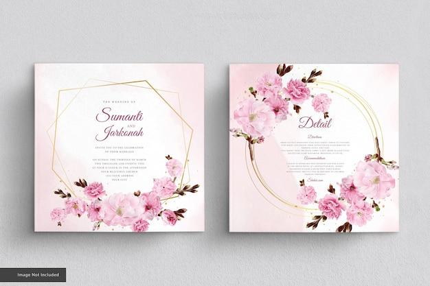 Conjunto de tarjeta de invitación de flor de cerezo