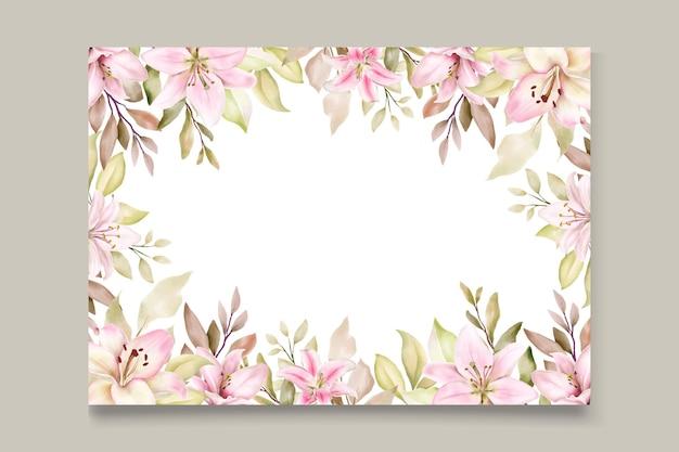 Conjunto de tarjeta de invitación de flor de lirio de acuarela
