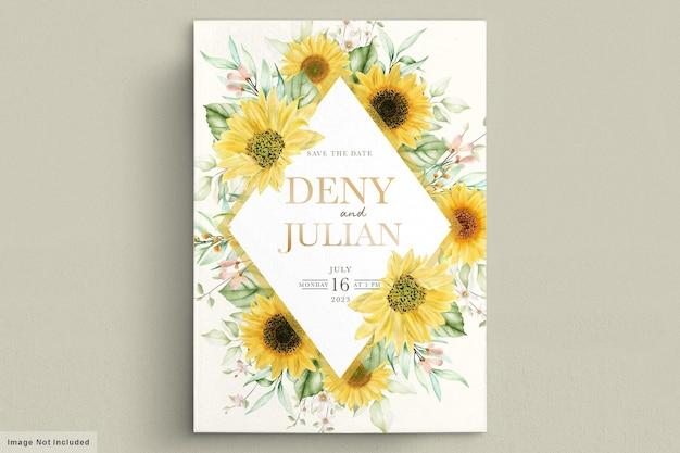 Conjunto de tarjeta de invitación de flor de sol acuarela