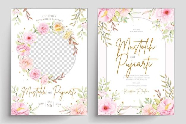 Conjunto de tarjeta de invitación floral acuarela dibujada a mano