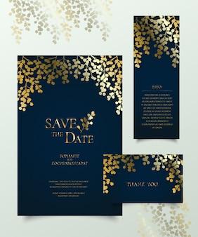 Conjunto de tarjeta de invitación floral dorado.