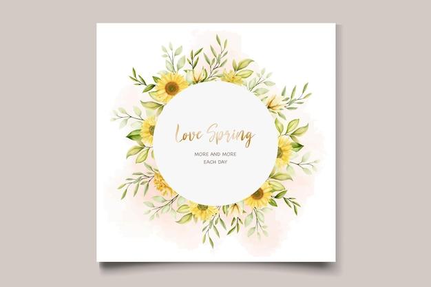 Conjunto de tarjeta de invitación floral de girasol