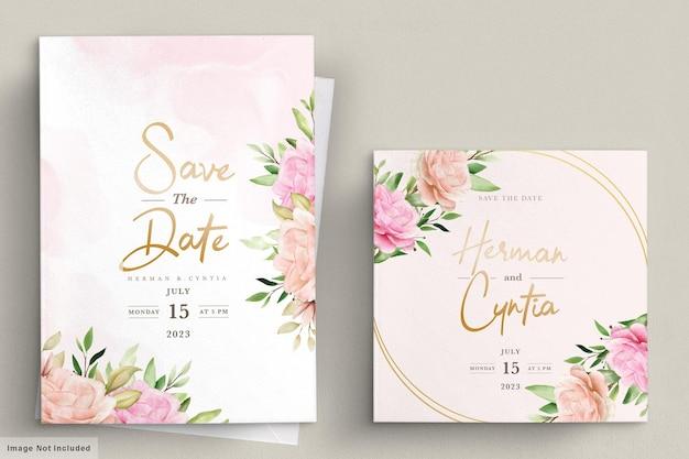 Conjunto de tarjeta de invitación floral de primavera acuarela