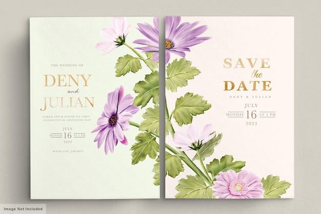 Conjunto de tarjeta de invitación floral