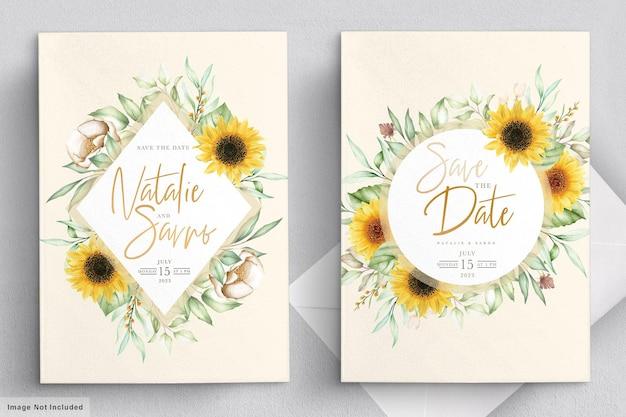Conjunto de tarjeta de invitación de girasol acuarela