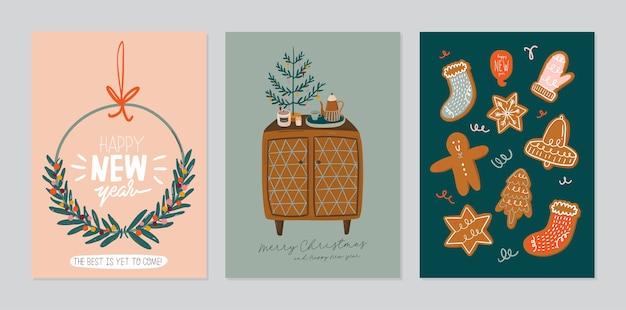 Conjunto de tarjeta de invitación. interior escandinavo con decoración del hogar: corona, pan de jengibre, árbol. acogedora temporada de vacaciones de invierno. linda ilustración y tipografía navideña en estilo hygge.