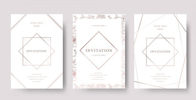 Conjunto de tarjeta de invitación de lujo de oro rosa vintage