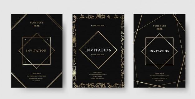 Conjunto de tarjeta de invitación de lujo vintage de marco de diamante negro y oro