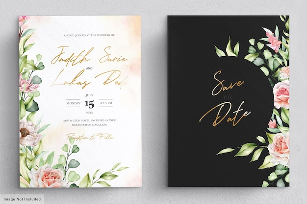 Conjunto de tarjeta de invitación de peonías y rosas de acuarela