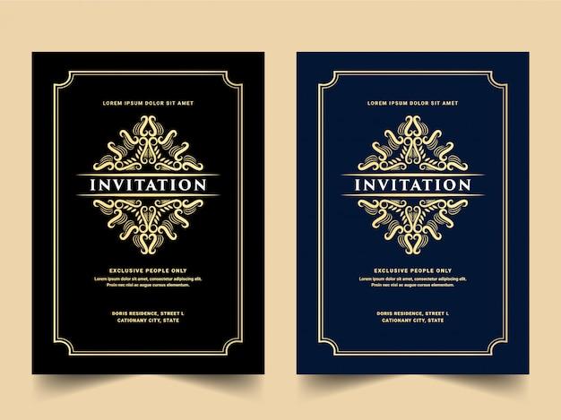 Conjunto de tarjeta de invitación real y de lujo vintage para aniversario de boda
