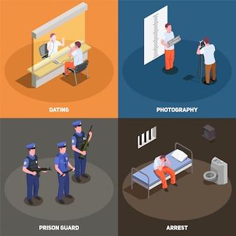 Conjunto de tarjeta isométrica de escenas de cárcel de prisión