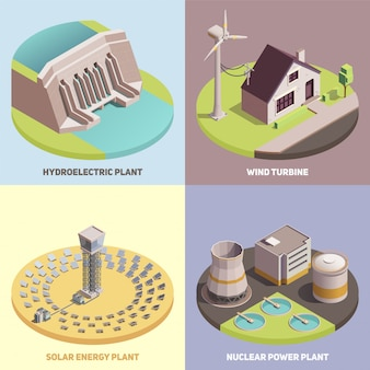 Conjunto de tarjeta isométrica de producción de energía verde