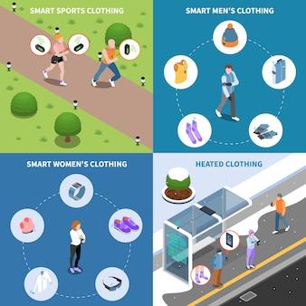 Conjunto de tarjeta isométrica de tecnología usable y ropa inteligente
