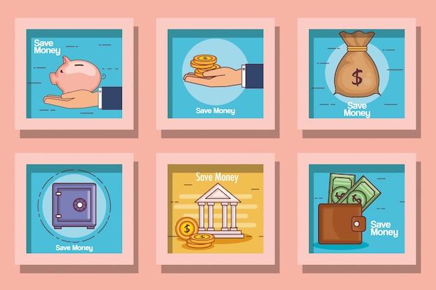 Conjunto de tarjeta lineal financiera y dinero