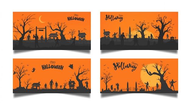 Conjunto de tarjeta naranja de halloween