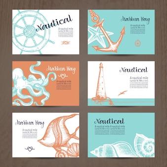 Conjunto de tarjeta náutica