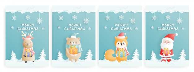 Conjunto de tarjeta de navidad con personaje en estilo de corte de papel