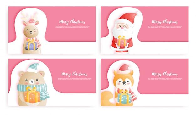 Conjunto de tarjeta de navidad con santa y amigos.