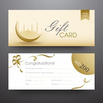 Conjunto de tarjeta o banner de regalo horizontal con silueta de mezquita, cresc