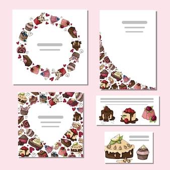 Conjunto de tarjeta de pasteles