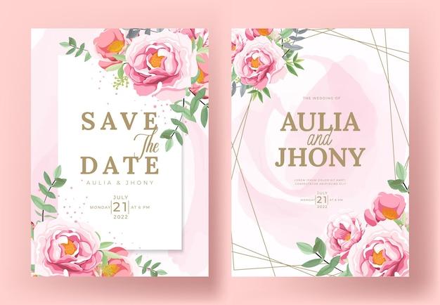 Conjunto de tarjeta con peonías de flores, hojas. concepto de adorno de boda.