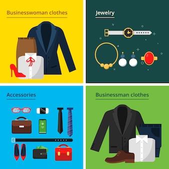 Conjunto de tarjeta plana de ropa y accesorios de negocios