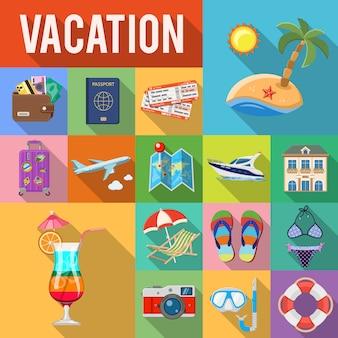 Conjunto de tarjeta plana de vacaciones y turismo