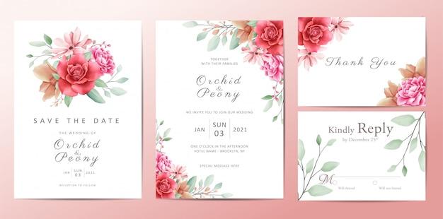 Conjunto de tarjeta de plantilla de invitación de boda flores románticas