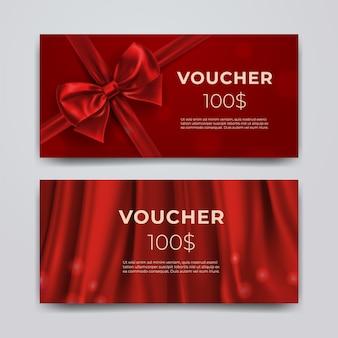 Conjunto de tarjeta promocional premium con lazo rojo realista.