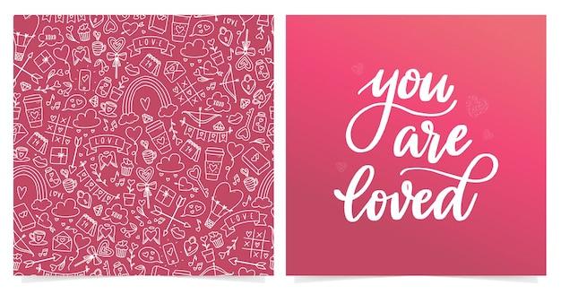 Conjunto de tarjeta de san valentín y patrones sin fisuras